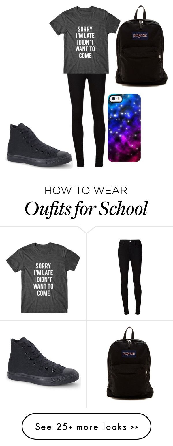 """""""school"""" by music-is-bea on Polyvore featuring AG Adriano Goldschmied, Converse, JanSport and Uncommon"""