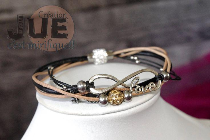 Bracelet multi-rang infini en cordon de cuir et suèdine  , large , billes pavées de strass, billes acier inoxydables de la boutique CreationJueBijoux sur Etsy