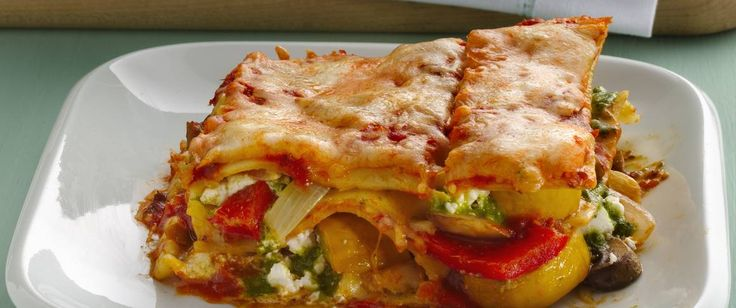 Fresh veggies, goat cheese and pesto add so much fabulous flavor to lasagna that you won't miss the meat!