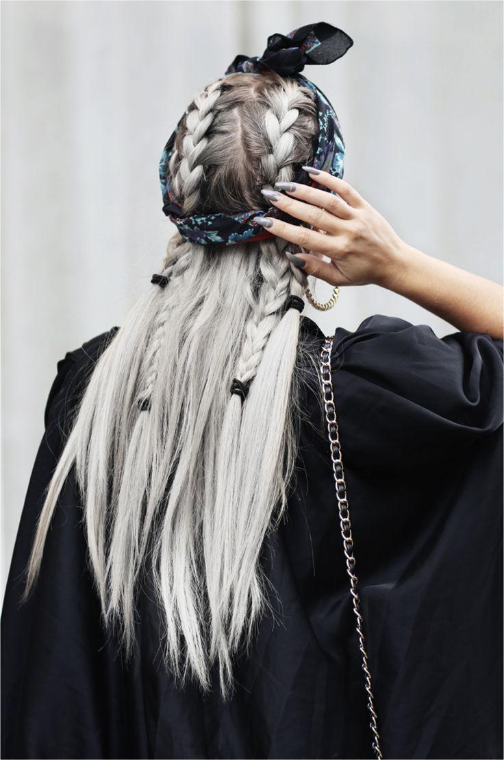 braids grey hair fashion aesthetic