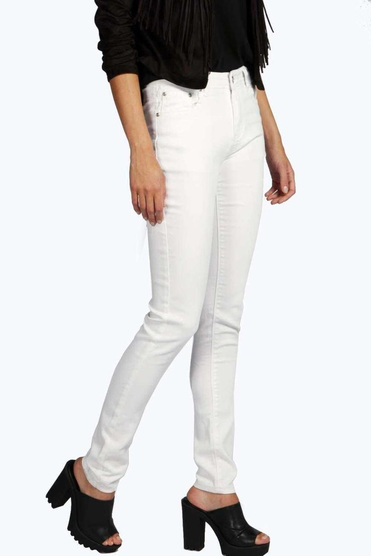 """#FashionVault #boohoo #Sale #Women - Check this : """"boohoo Millie Longer Length 34"""""""" Mid Rise Skinny Jeans - white"""" for $46 USD instead of $18 #OnSale"""