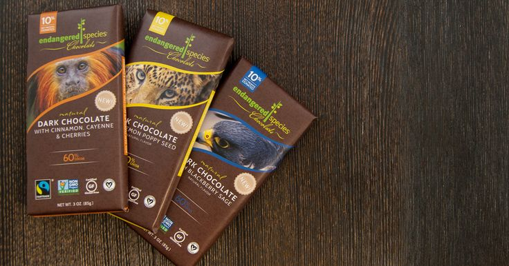 Endangered Species Chocolate.  Fair trade and 10% of net profits from your purchase are donated to support conservation efforts!