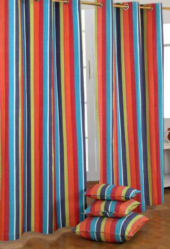 Homescapes Pair Of 100 Cotton Ready Made Curtains Multi Stripes Orange Blue Yellow