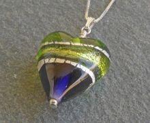 Purple and green Murano glass heart pendant