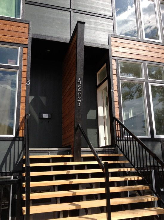 Modern Iron Place Vernon Exterior Design With Raised Entry Design Contemporary Outdoor Staircase With Wooden Steps