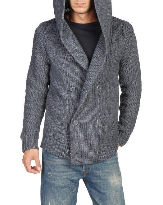 Men hand knit cardigan hooded double breast by BANDofTAILORS