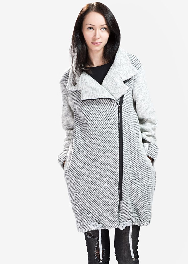 Wełniany miękki płaszcz z suwakiem MAKALU