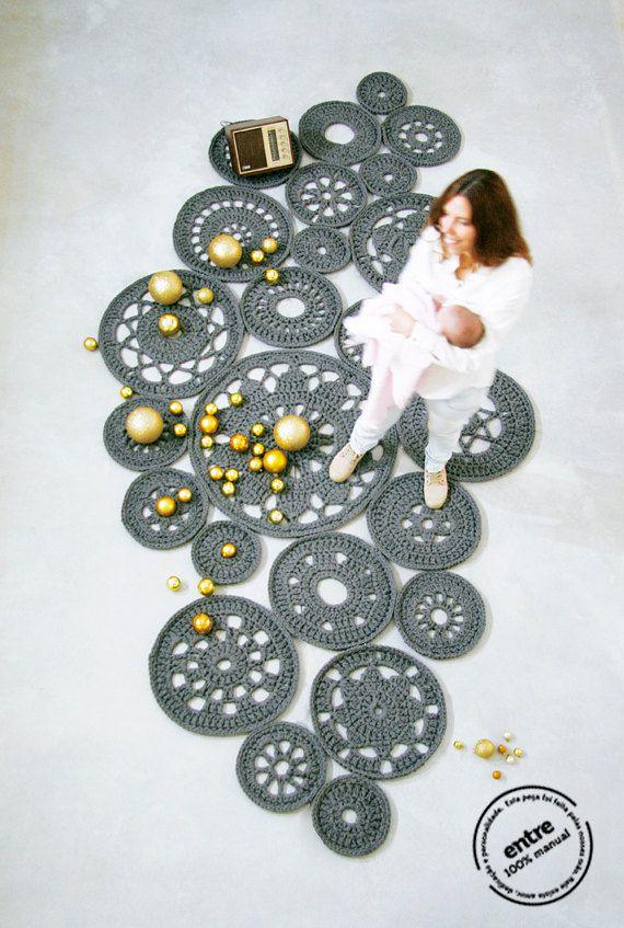 gran alfombra de ganchillo hecho a mano MODULAR por entrelacadas                                                                                                                                                                                 Más