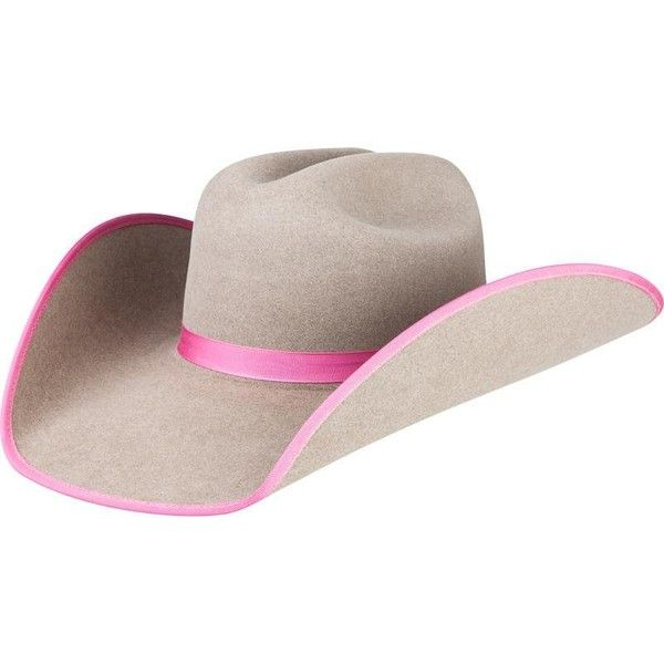 Rodeo King 7X Ash with Pink Bound Edge Cowboy Hat ❤ liked on Polyvore featuring home, home decor, pink home decor and cowboy home decor