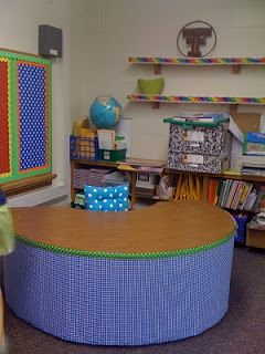 This blog is a very creative way to organize the classroom. Love what she did with her bulletin boards: she put up fabric & doubled up with borders to complete the space. TONS of organizing ideas all in this one post.