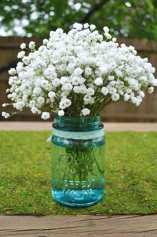This Do It Yourself Babys Breath Arrangement can be easily personalized and you can start today. So simple and tasteful.