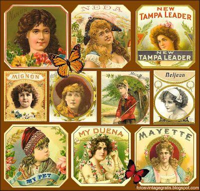 Imágenes vintage gratis / Free vintage images: collage de etiquetas antiguas