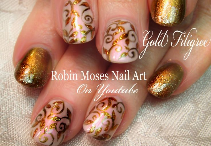 Elegant Gold Nails | Easy Glitter Filigree Nail Art Design Tutorial