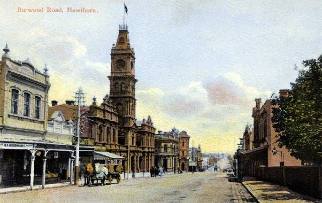 Hawthorn Town Hall, Burwood Road, Hawthorn, looking west towards Glenferrie Road.