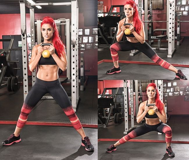 Try this kettlebell side lunge to work your core, glutes and thighs, as demonstrated by WWE's Diva Eva Marie #weightlosstips