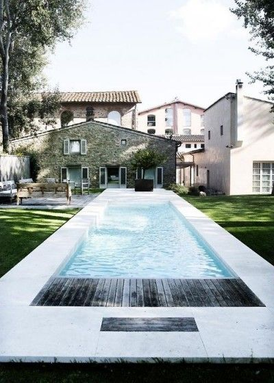 Coastal Meets Country: This summer, refresh your outdoor living space with a contemporary lap pool, finish with crisp white pavers and weathered timber for a rustic edge. #FieldNotes #pools #design #garden #inspiration #home