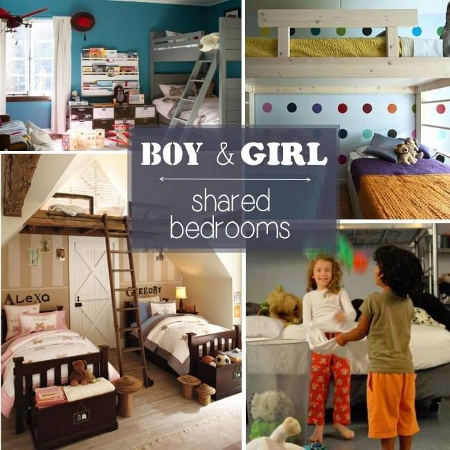 """Do you have a houseful? We do. Here are ideas on how to have siblings share a room, *especially* if they are opposite genders. Your kids can share a space while maintaining their own """"zones"""". Love these… Boy and Girl Shared Rooms  Loft Level. Instead of building a set of bunk beds, consider making …"""