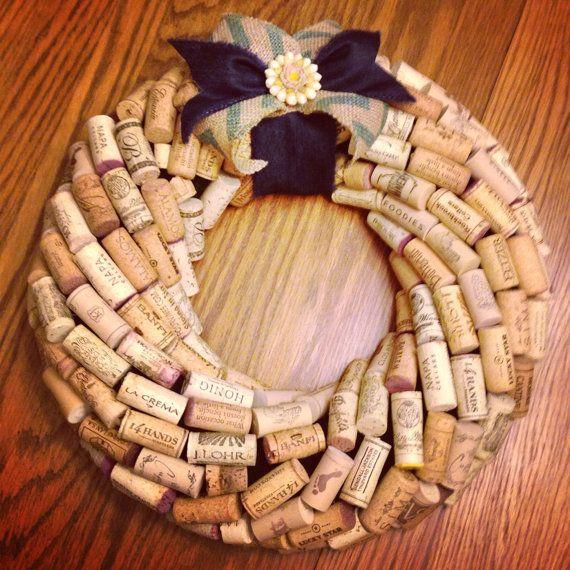 Spring Wine Cork Wreath by TrueVineGifts on Etsy