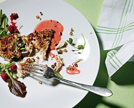 hazelnut crusted chicken with greens and raspberry sauce – best dinner ever