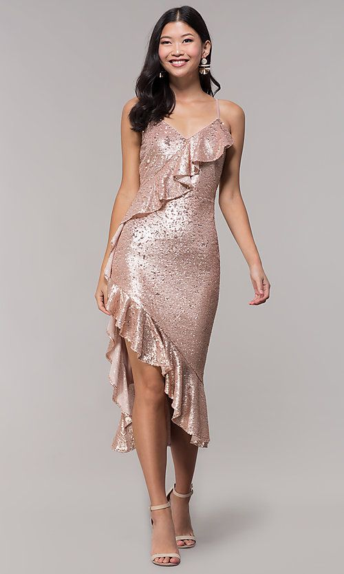 249931b56b Ruffle-Trimmed Holiday V-Neck Sequin Party Dress