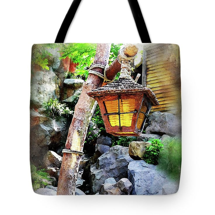 Tote Bag featuring the photograph Rustic Lamppost by Judi Saunders – Home Decor, Clothes & Craft
