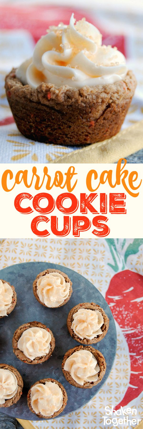 These Carrot Cake Cookie Cups start with a cake mix and end with two cream cheese frosting filled bites of delicious! Easy-to-make and perfect for busy bakers! - From shakentogetherlife.com