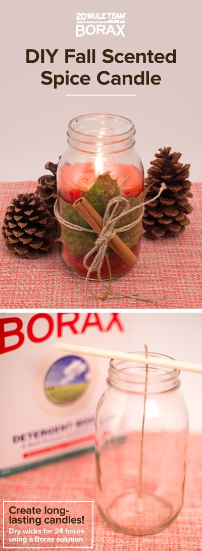 Feeling crafty this holiday season? Try using 20 Mule Team Borax to craft your own homemade candle wicks. You can use these wicks to make festive Fall scented spice candles. Try adding cinnamon & nutmeg to the candle wax for an Autumn DIY decor masterpiece.