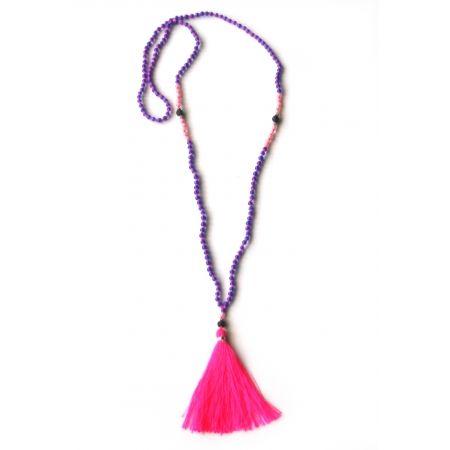 Collier Harum de Zojora en perles de verre avec pompom fluo. Fait-main a Bali. 40$.