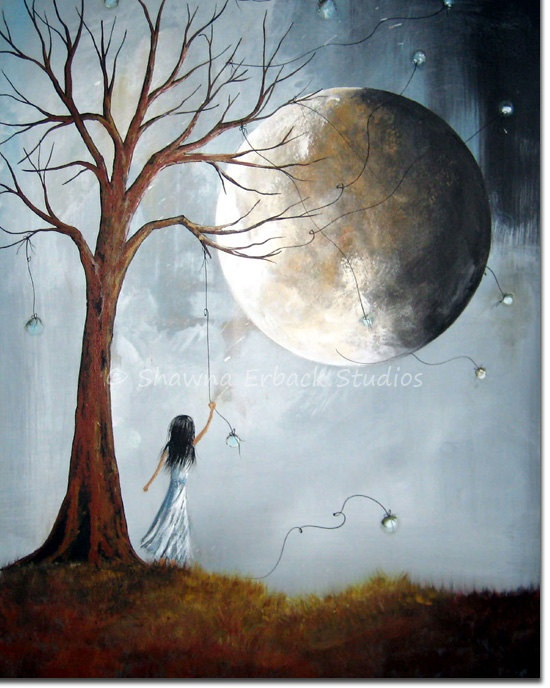 38 best moon dance images on pinterest moon dance moonlight and surreal art print blue moon girl dreaming dreamscape dead tree landscape grass medium wall decor fandeluxe Images