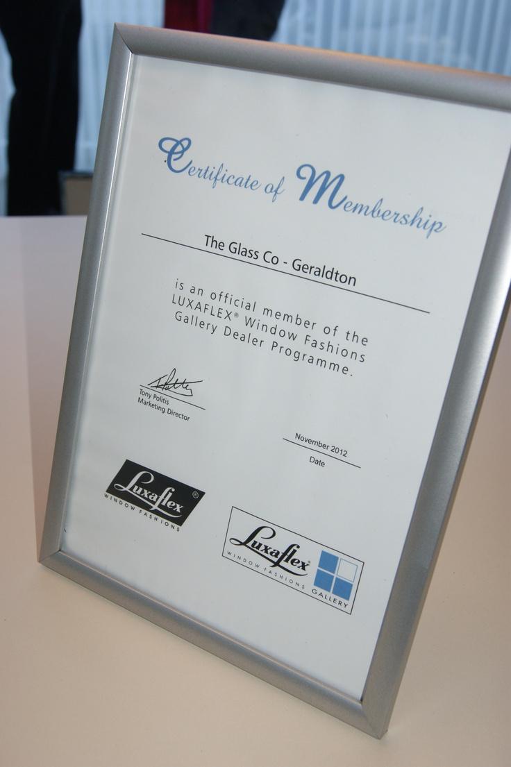Glass Co - Certificate of Membership - Luxaflex