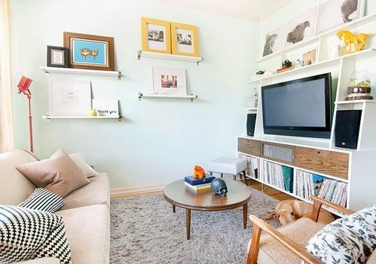 Inspiration for adding shelves to our spaceCenter Ideas, Cozy Living Room, Living Rooms, Small Living Room, Apartments Therapy, Tv Room, Livingroom, Small Spaces, Entertainment Center