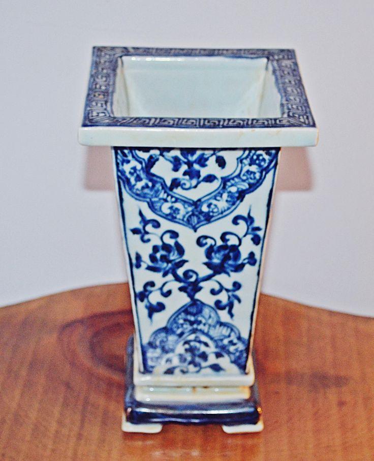 Asian Rectangular Brush Pot, Blue And White Vase, Chinese Collectible