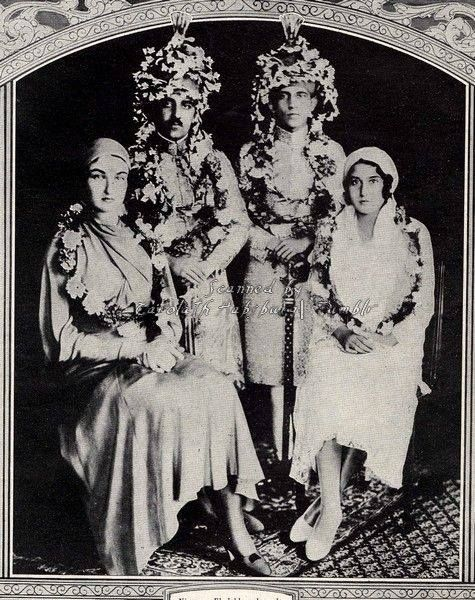 Double wedding of two sons of the Nizam Hydebarad of India Azam Jah,m prince of Berar with princess Durru Shevar of the Ottoman empire (left) and Prince Moazzam Jah with Princess Niloufer of the Ottoman empire (right). Nice, November 12,1931.