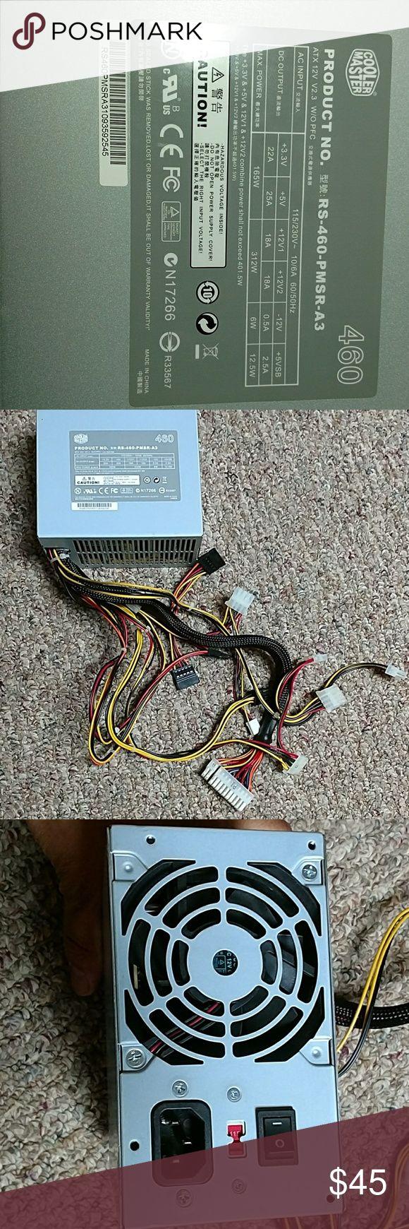Cooler Master Power Supply AC input.  115/230V  Output.      3.3V. DC                        5V DC                       12V. DC  Output power. 460W  Energy star. Yes Cooler Master Other