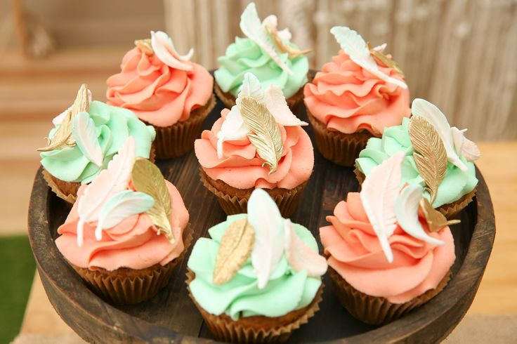 Feather cupcakes for Ivy's first birthday.