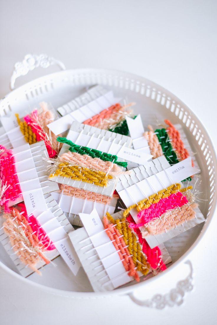 Mini weavings done as name tags