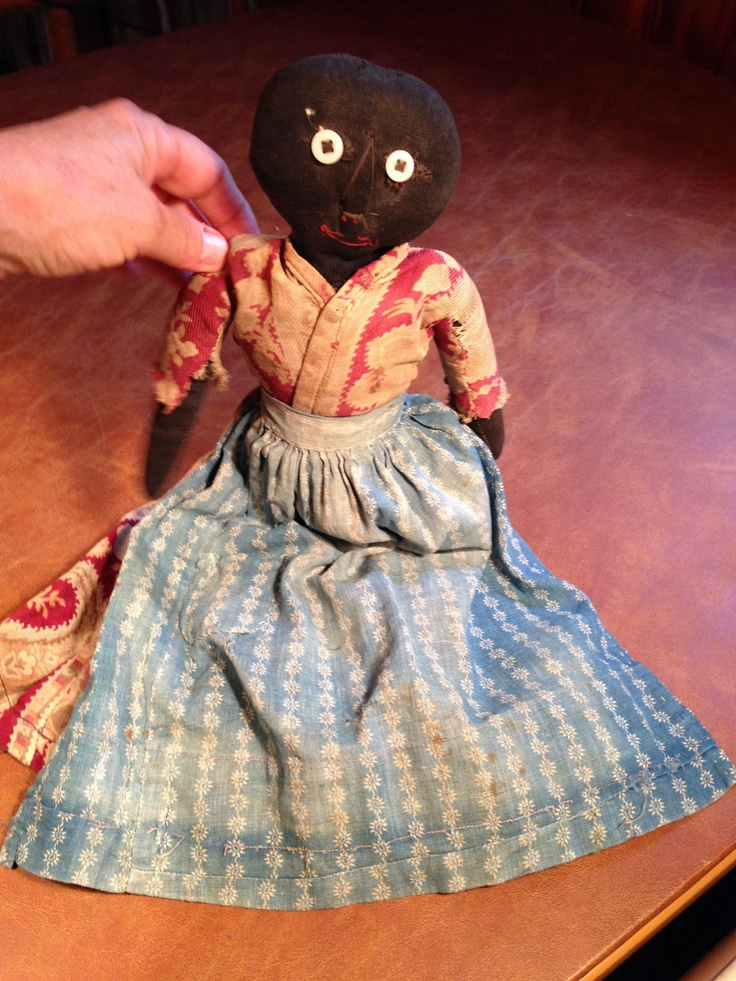 Early Primitive Cloth Black Vintage Rag Doll w Original Dress C 1860 | eBay sold 825.00. ~♥~ .