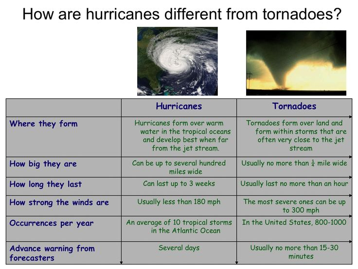 Table describing the differences between hurricanes and tornadoes.