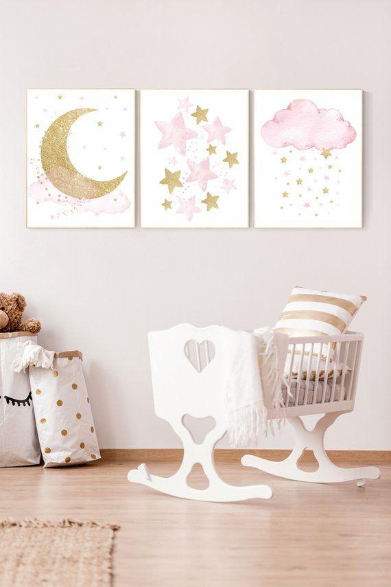 Nursery Wall Art Girl Baby Room Decor Girl Gold And Pink Moon