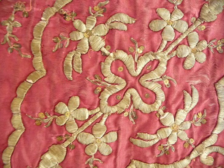 vvv Turkish Embossed Silver Gilt Thread Embroidery on Red Silk.
