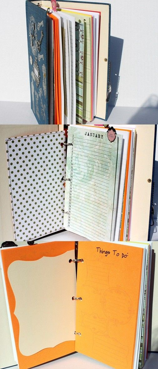 ALTERED BOOK MIXED JOURNAL PLANNER ORGANIZER blue by Papersilly