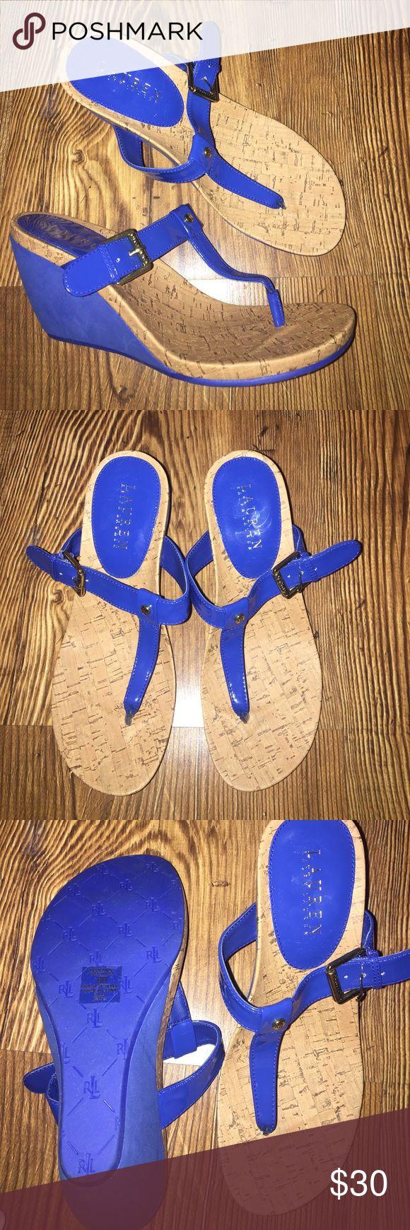 Blue Lauren by Ralph Lauren Roseanne wedges Royal Blue Lauren by Ralph Lauren Roseanne wedges. Size 8. Like new condition. Priced $50 on Amazon Lauren Ralph Lauren Shoes