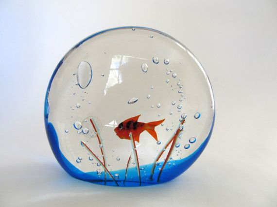 Murano Art Glass Fish in Aquarium Made in by FromSomeonesAttic, $199.99