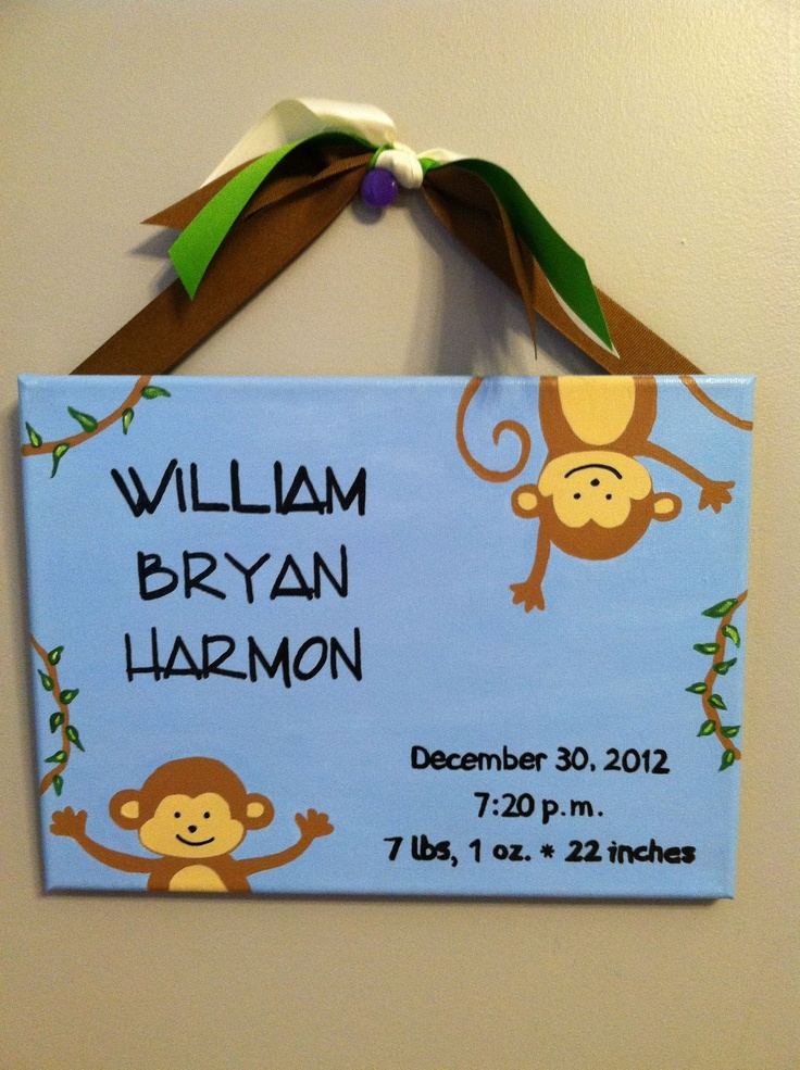Silly Monkey Baby Announcement painting - could revamp for a girl!