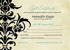 Gift Certificate Photography - Bing images