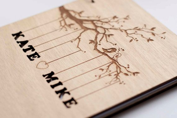 "Custom Wedding guest book wood rustic wedding guest book album bridal shower engagement anniversary- ""Love Birds, Tree"""