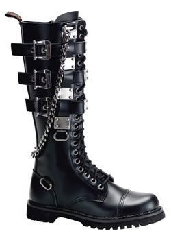 GRAVEL-23 Black Leather Boots - Gothic boots