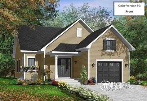 Beautiful Single storey house plan with two bedrooms and laundry area on main floor, garage, open concept (# 3263) http://www.drummondhouseplans.com/house-plan-detail/info/baxter-country-1002623.html
