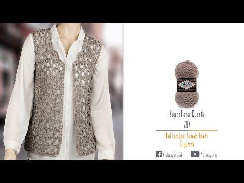 Superlana Klasik ile tığ işi baharlık yelek crochet of spring vest with superlana klasik - YouTube