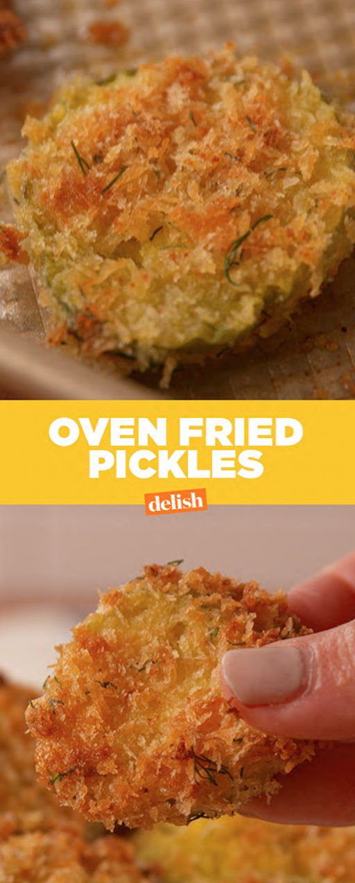 These Oven Fried Pickles have all of the crunch and zero of the guilt. Get the recipe at Delish.com.